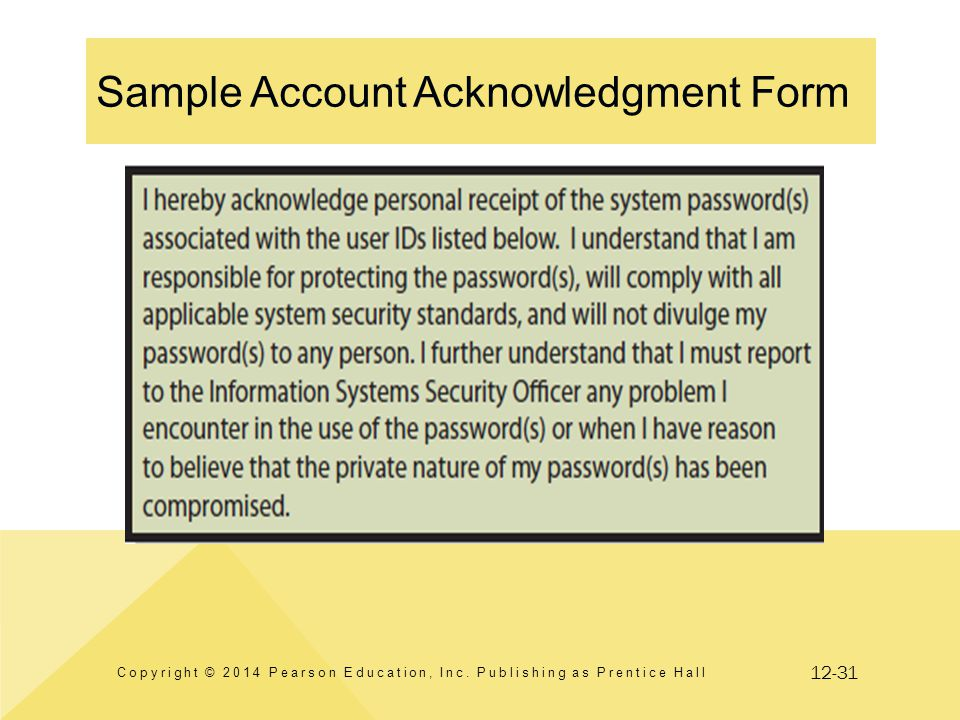 12-31 Sample Account Acknowledgment Form Copyright © 2014 Pearson Education, Inc. Publishing as Prentice Hall
