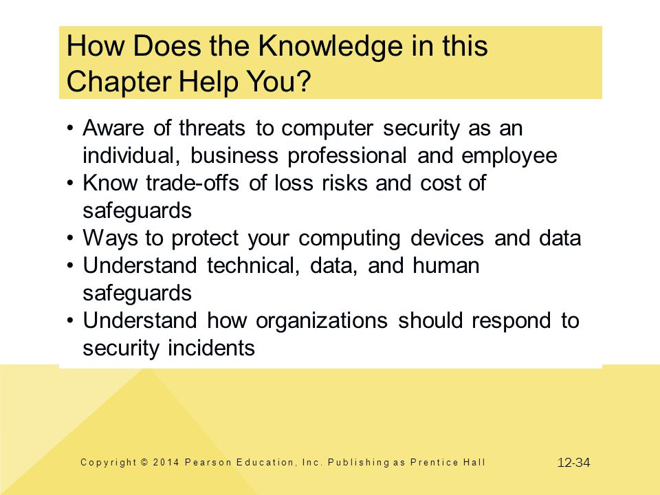 12-34 How Does the Knowledge in this Chapter Help You? Copyright © 2014 Pearson Education, Inc. Publishing as Prentice Hall Aware of threats to comput