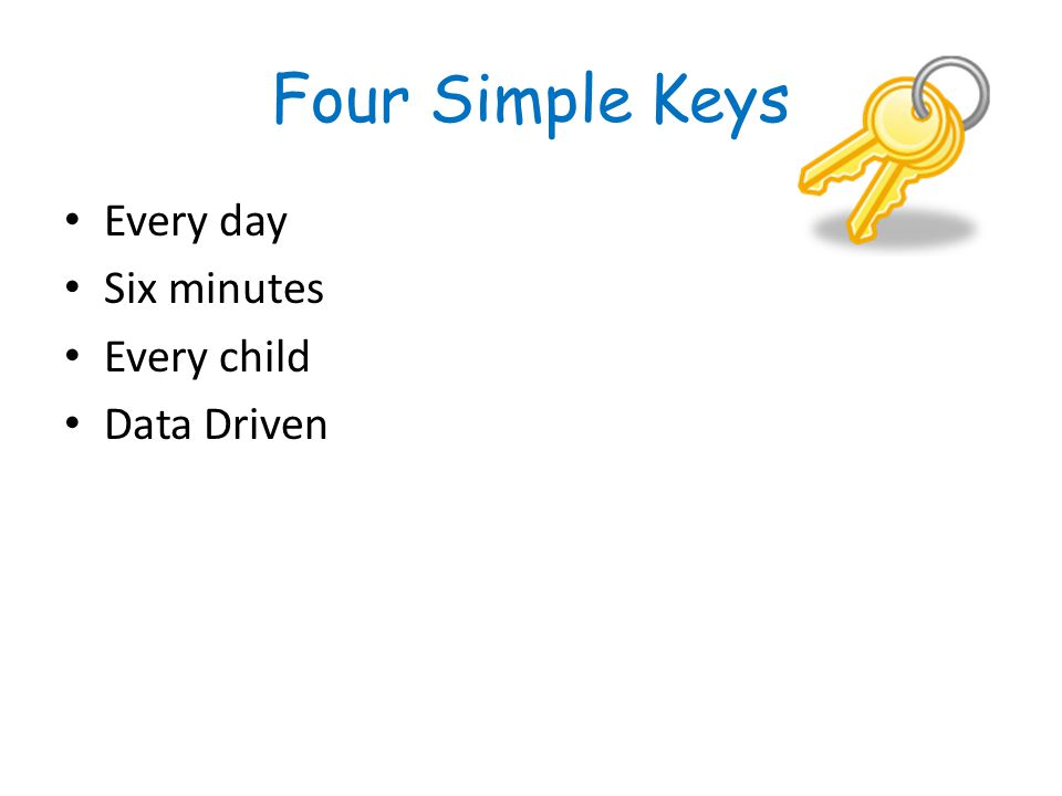 Four Simple Keys Every day Six minutes Every child Data Driven