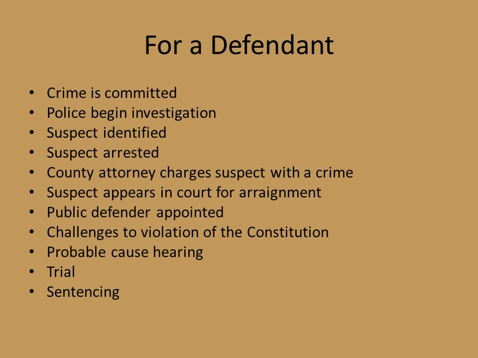 For a Defendant Crime is committed Police begin investigation Suspect identified Suspect arrested County attorney charges suspect with a crime Suspect appears in court for arraignment Public defender appointed Challenges to violation of the Constitution Probable cause hearing Trial Sentencing