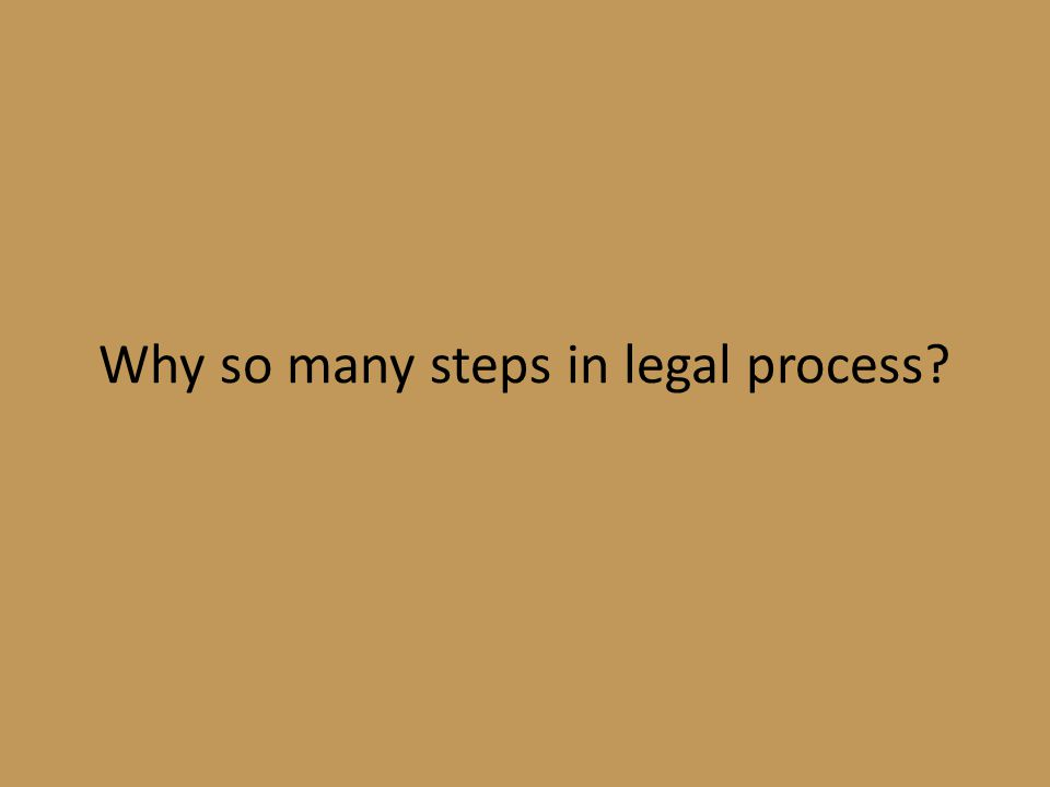 Why so many steps in legal process
