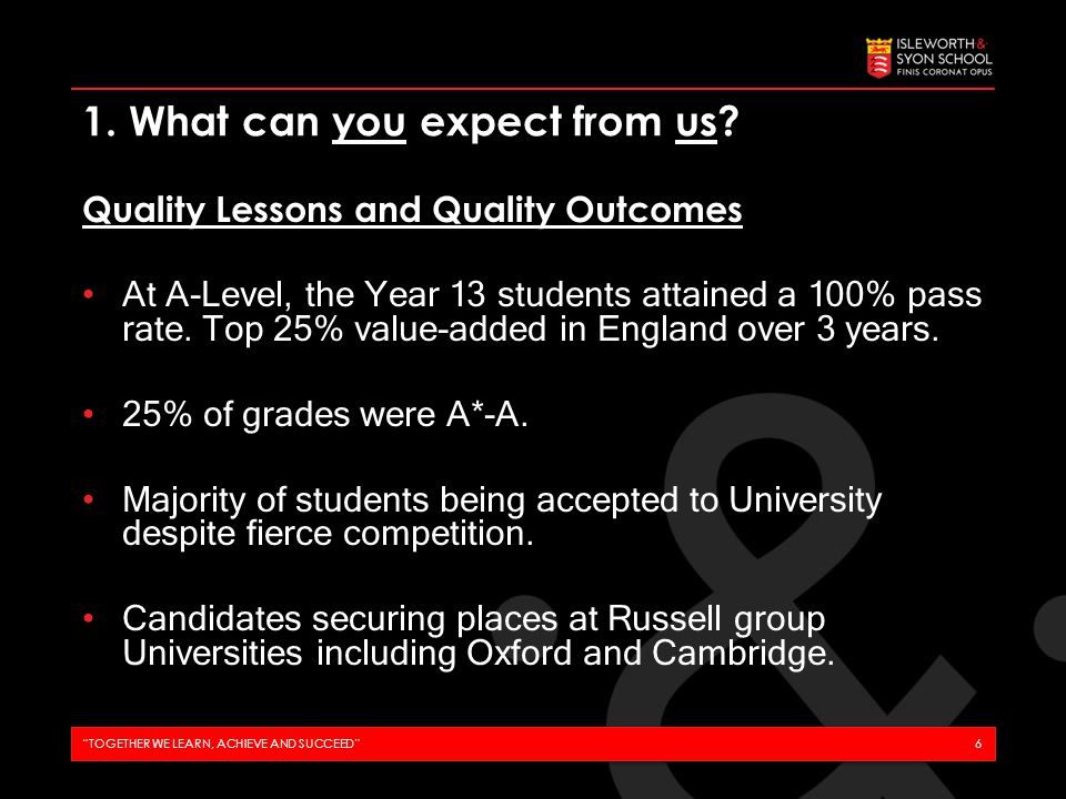 Ambitious Target Setting Grades set in line with the achievement of the top 25% of students who attain the same GCSE average.