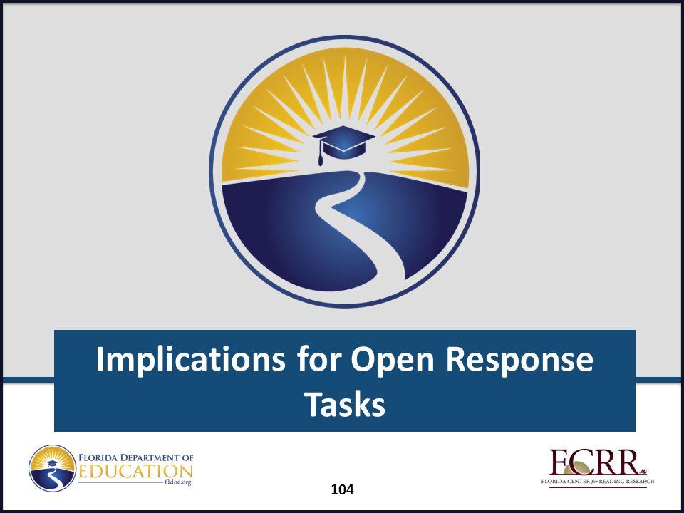 Implications for Open Response Tasks 104