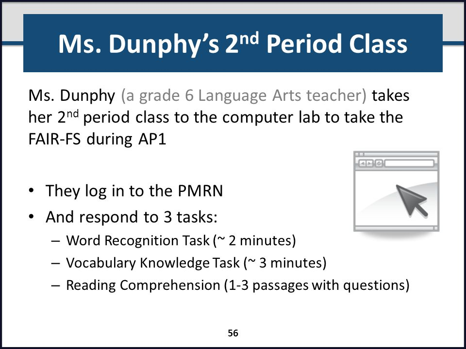 Ms. Dunphy's 2 nd Period Class Ms. Dunphy (a grade 6 Language Arts teacher) takes her 2 nd period class to the computer lab to take the FAIR-FS during