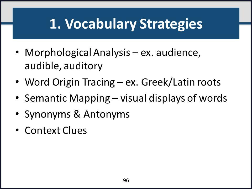 1. Vocabulary Strategies Morphological Analysis – ex. audience, audible, auditory Word Origin Tracing – ex. Greek/Latin roots Semantic Mapping – visua