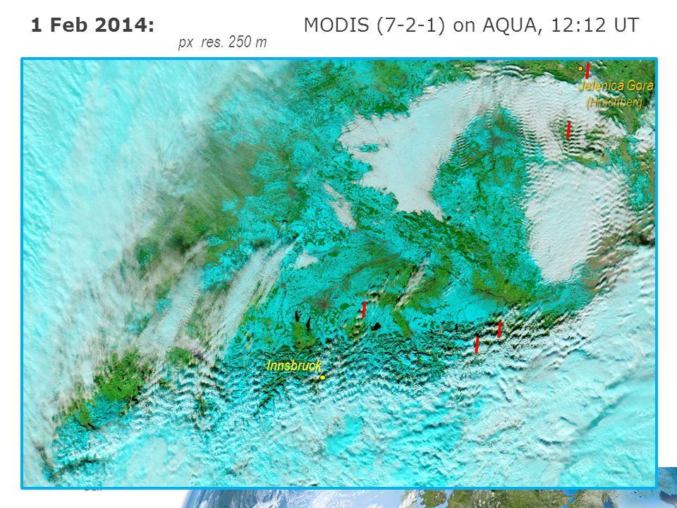 1 Feb 2014: MODIS (7-2-1) on AQUA, 12:12 UT px res. 250 m Innsbruck Jelenica Gora (Hirschberg)