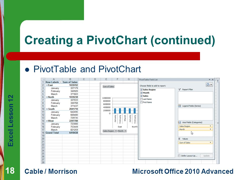 Excel Lesson 12 Cable / MorrisonMicrosoft Office 2010 Advanced Creating a PivotChart (continued) PivotTable and PivotChart 18