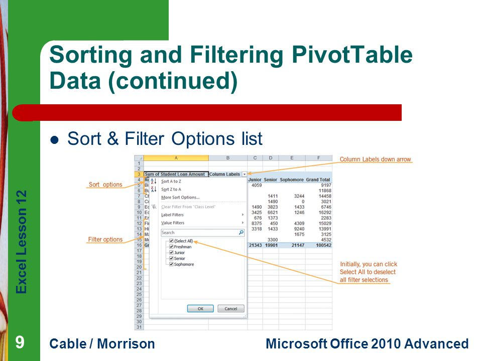Excel Lesson 12 Cable / MorrisonMicrosoft Office 2010 Advanced Sorting and Filtering PivotTable Data (continued) Sort & Filter Options list 9