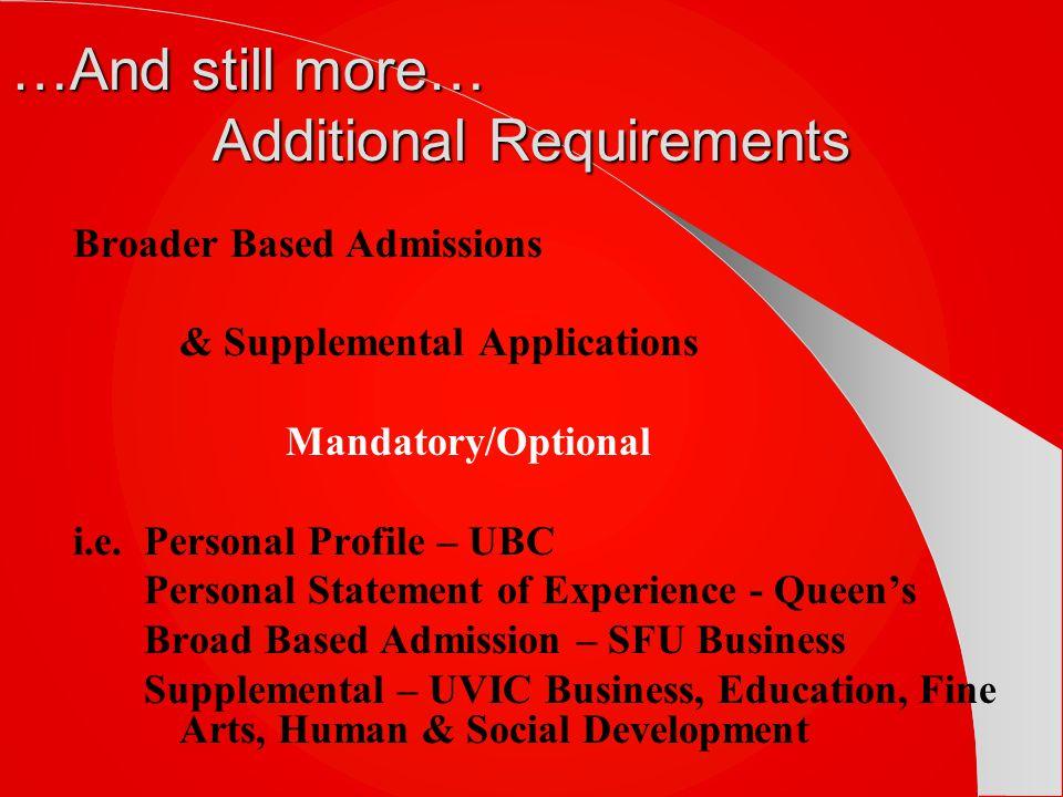 Broader Based Admissions & Supplemental Applications Mandatory/Optional i.e.