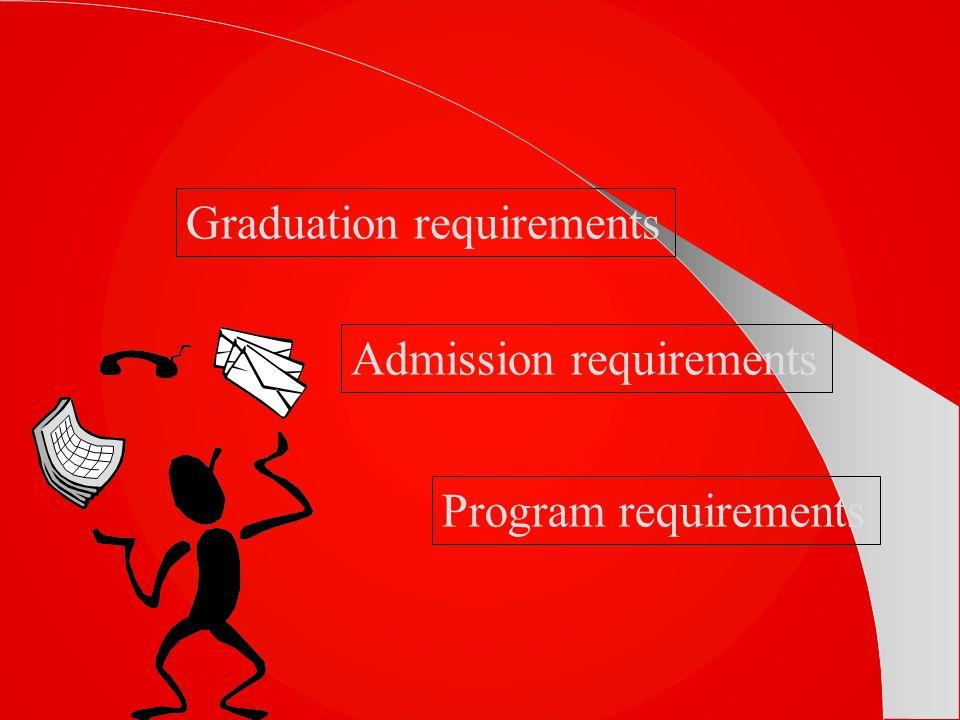 Graduation requirements Admission requirements Program requirements