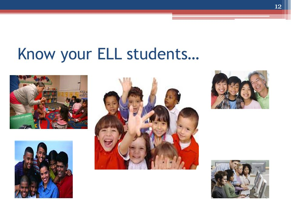 Know your ELL students… 12