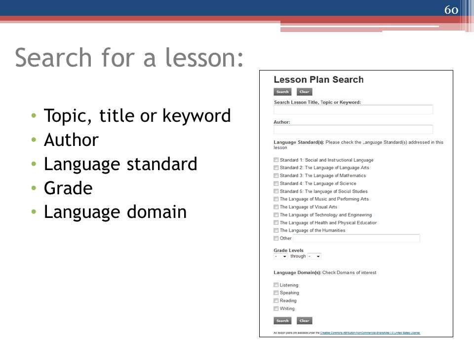 Search for a lesson: Topic, title or keyword Author Language standard Grade Language domain 60