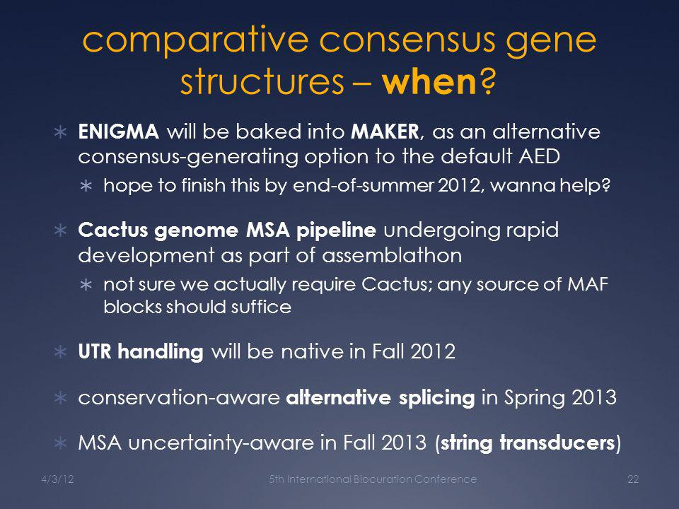 comparative consensus gene structures – when .