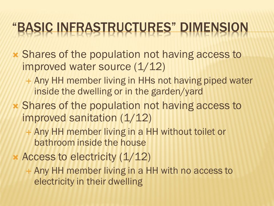  Shares of the population not having access to improved water source (1/12)  Any HH member living in HHs not having piped water inside the dwelling or in the garden/yard  Shares of the population not having access to improved sanitation (1/12)  Any HH member living in a HH without toilet or bathroom inside the house  Access to electricity (1/12)  Any HH member living in a HH with no access to electricity in their dwelling