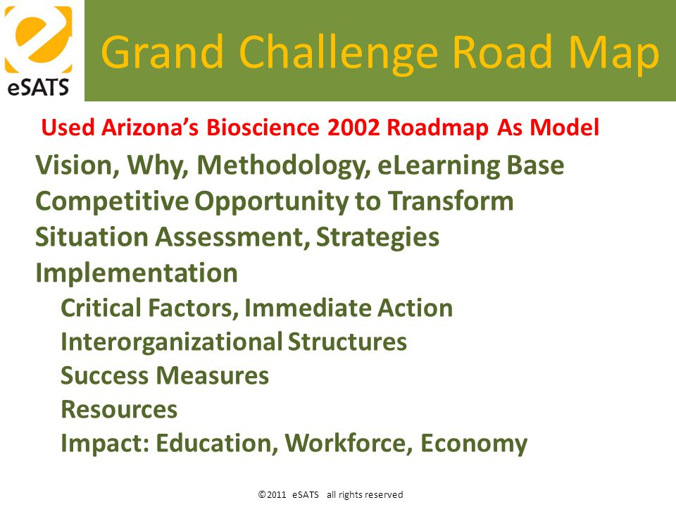 ©2011 eSATS all rights reserved eSATS Duex Concept Define guard rails to keep implementation on track; Inject speed into the normal public-private snail's pace; Publish the Grand Challenge eLearning Transformation Road Map for AZ – world; Float the concept with Op-ed, and other PR means such as eSATS.org; Develop champions …to carry on, to carry on.