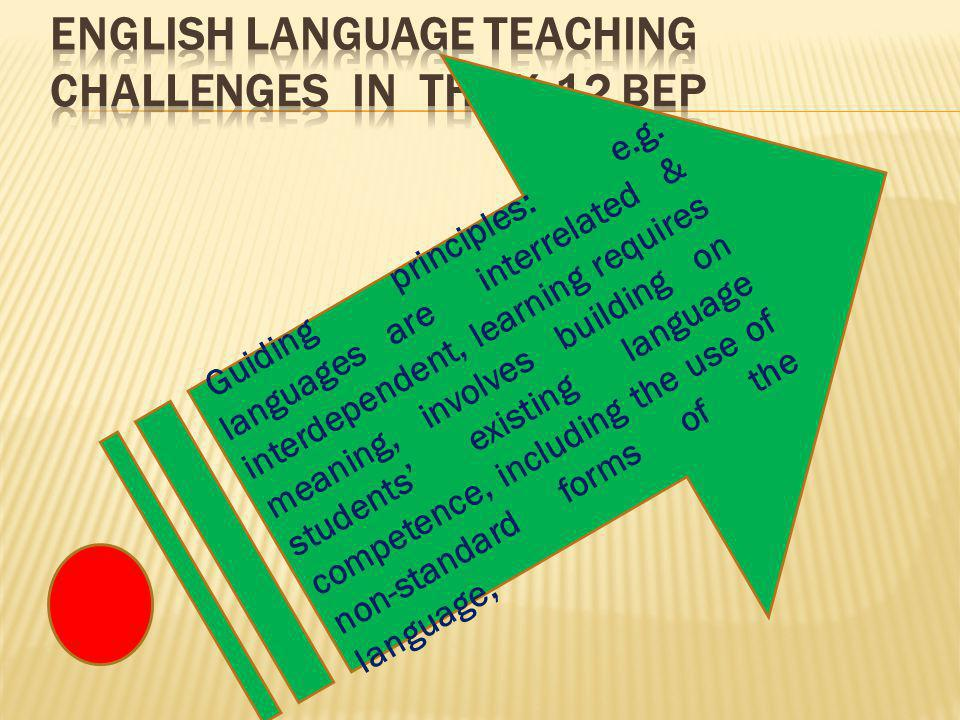 Guiding principles: e.g. languages are interrelated & interdependent, learning requires meaning, involves building on students' existing language comp