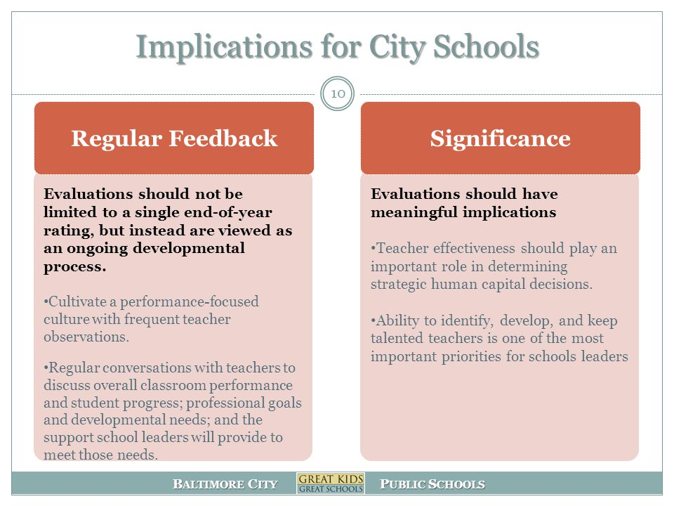 B ALTIMORE C ITY P UBLIC S CHOOLS Implications for City Schools 10 Evaluations should not be limited to a single end-of-year rating, but instead are viewed as an ongoing developmental process.