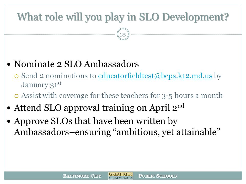 B ALTIMORE C ITY P UBLIC S CHOOLS What role will you play in SLO Development.