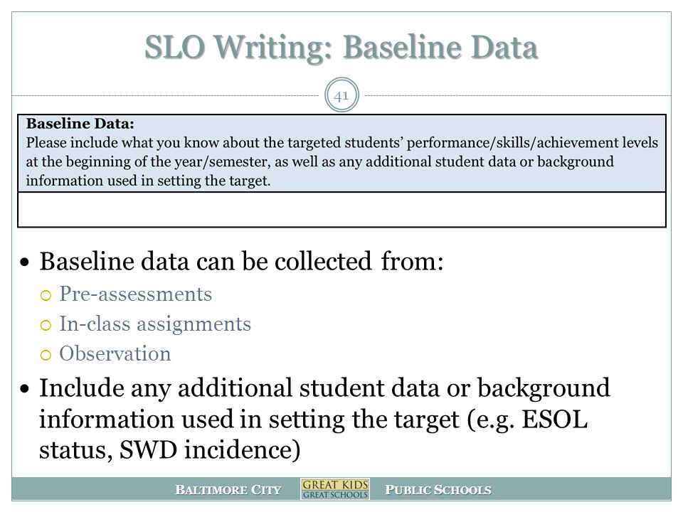 B ALTIMORE C ITY P UBLIC S CHOOLS SLO Writing: Baseline Data Baseline data can be collected from:  Pre-assessments  In-class assignments  Observation Include any additional student data or background information used in setting the target (e.g.