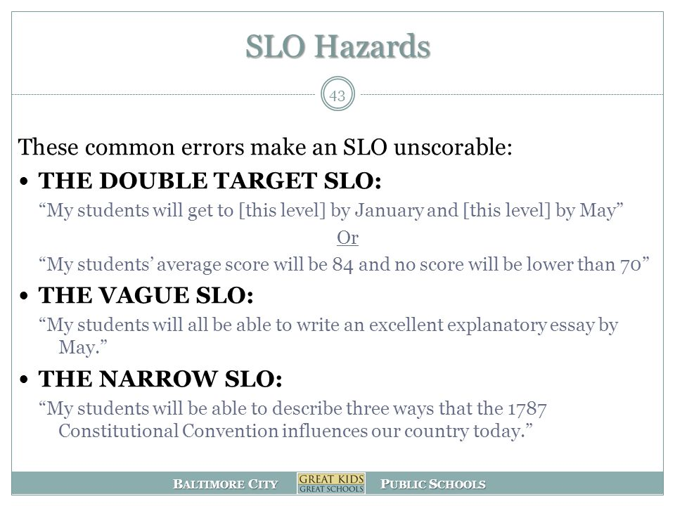 B ALTIMORE C ITY P UBLIC S CHOOLS SLO Hazards These common errors make an SLO unscorable: THE DOUBLE TARGET SLO: My students will get to [this level] by January and [this level] by May Or My students' average score will be 84 and no score will be lower than 70 THE VAGUE SLO: My students will all be able to write an excellent explanatory essay by May. THE NARROW SLO: My students will be able to describe three ways that the 1787 Constitutional Convention influences our country today. 43
