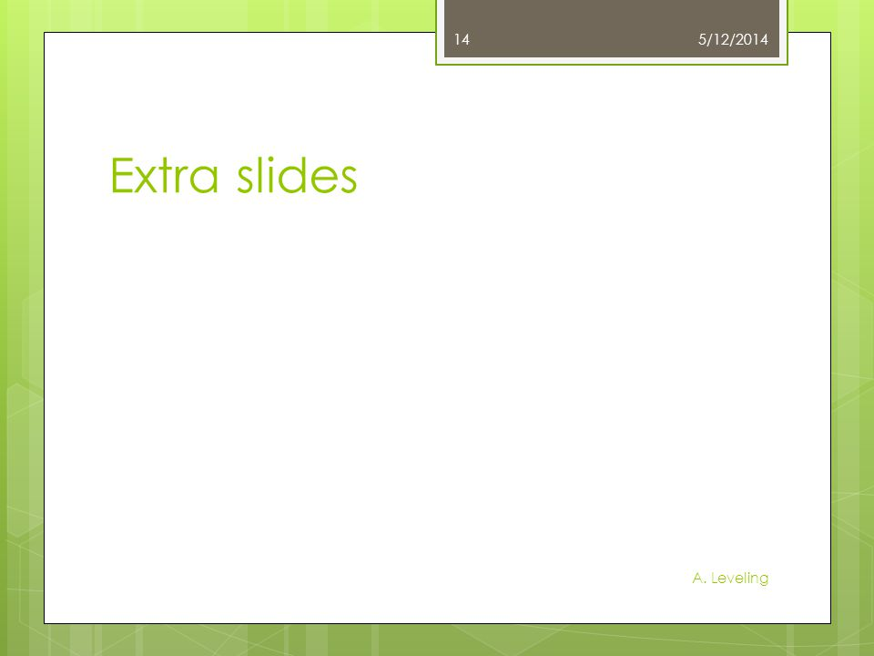 Extra slides 5/12/2014 A. Leveling 14