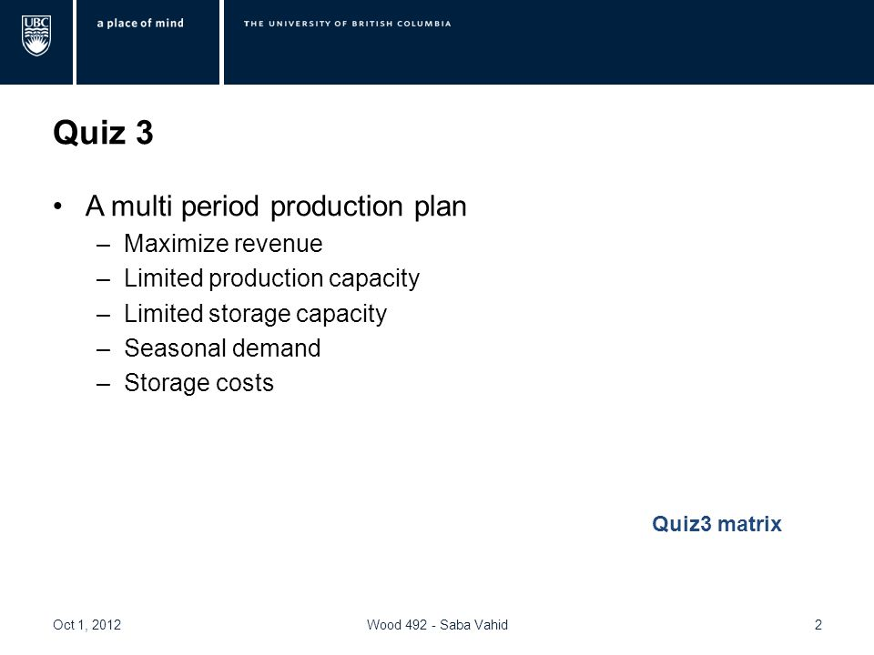 Quiz 3 A multi period production plan –Maximize revenue –Limited production capacity –Limited storage capacity –Seasonal demand –Storage costs Oct 1, 2012Wood 492 - Saba Vahid2 Quiz3 matrix
