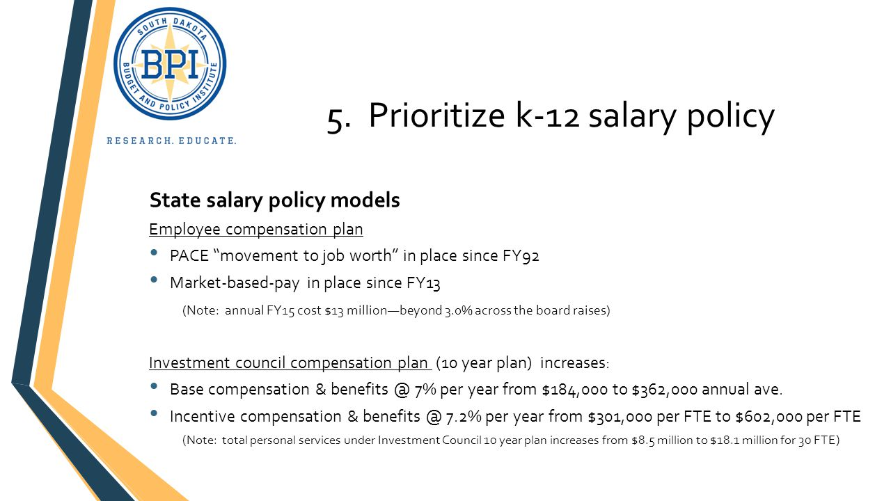 """5. Prioritize k-12 salary policy State salary policy models Employee compensation plan PACE """"movement to job worth"""" in place since FY92 Market-based-p"""