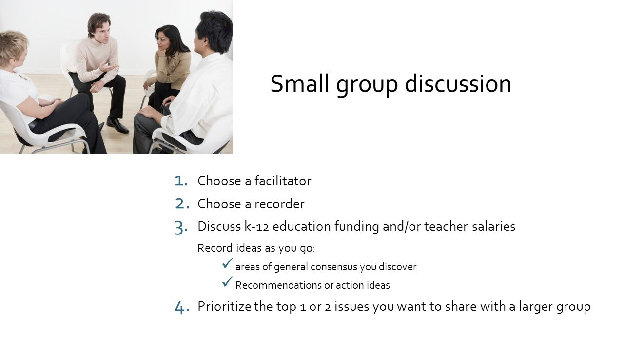 Small group discussion 1.Choose a facilitator 2. Choose a recorder 3.