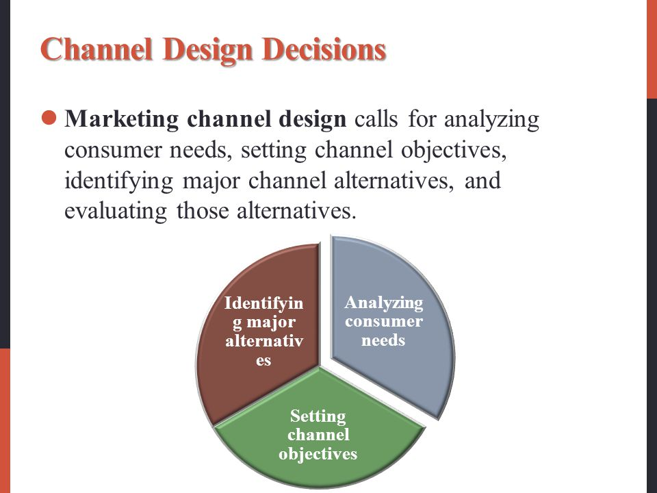 Channel Design Decisions Marketing channel design calls for analyzing consumer needs, setting channel objectives, identifying major channel alternatives, and evaluating those alternatives.