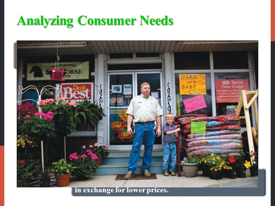 Analyzing Consumer Needs Each channel member and level adds value for the consumer.