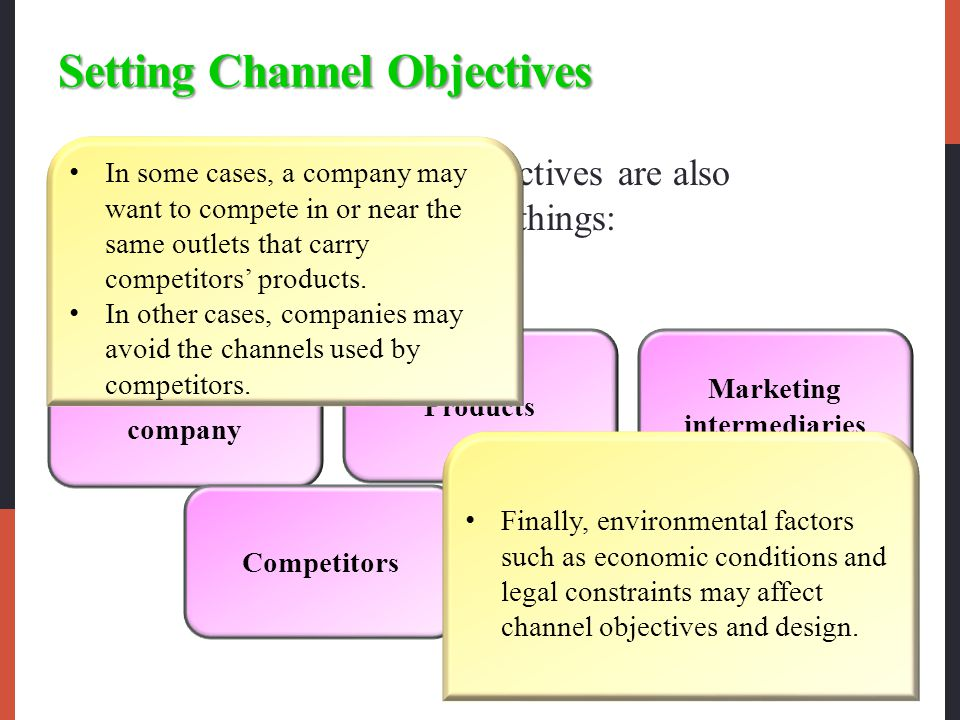 Setting Channel Objectives The company's channel objectives are also influenced by the following things: The nature of the company Competitors Products Environment Marketing intermediaries In some cases, a company may want to compete in or near the same outlets that carry competitors' products.