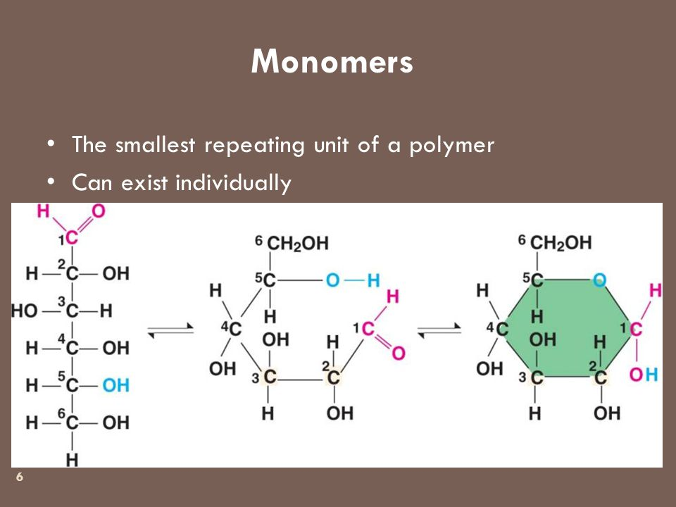 Monomers 6 The smallest repeating unit of a polymer Can exist individually