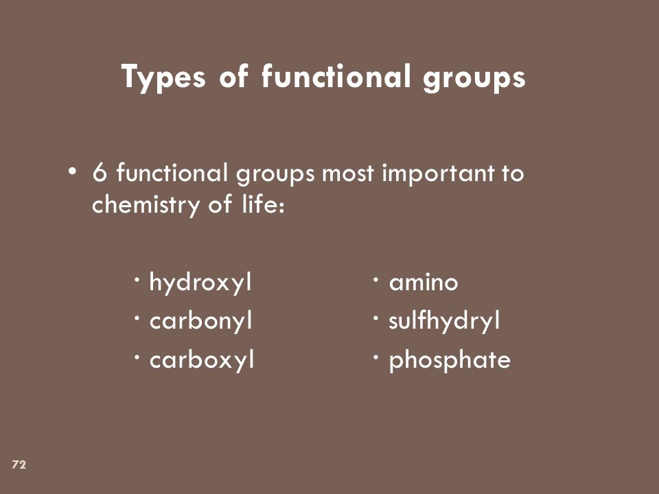 72 Types of functional groups 6 functional groups most important to chemistry of life:  hydroxyl  amino  carbonyl  sulfhydryl  carboxyl  phosphate
