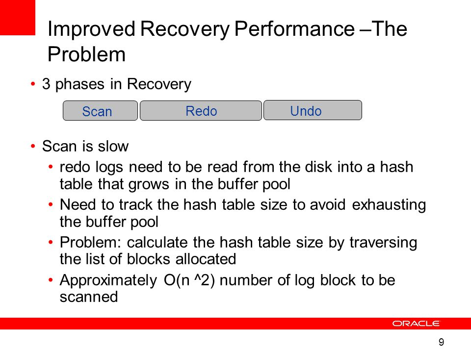 9 3 phases in Recovery Scan is slow redo logs need to be read from the disk into a hash table that grows in the buffer pool Need to track the hash table size to avoid exhausting the buffer pool Problem: calculate the hash table size by traversing the list of blocks allocated Approximately O(n ^2) number of log block to be scanned Improved Recovery Performance –The Problem ScanRedo Undo Scan RedoUndo