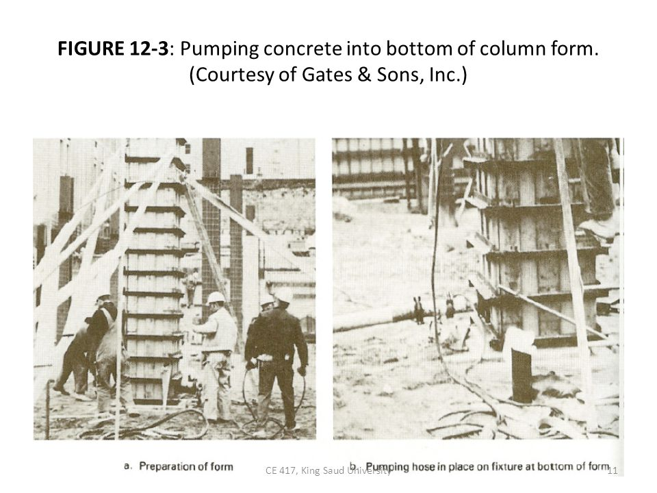 FIGURE 12-3: Pumping concrete into bottom of column form.
