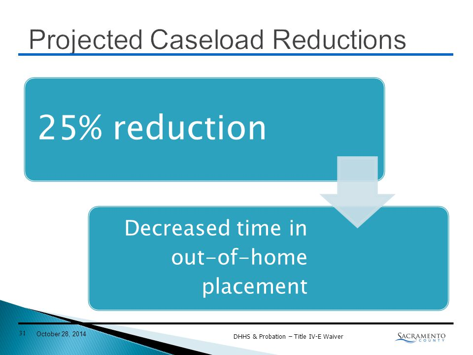 25% reduction Decreased time in out-of-home placement DHHS & Probation – Title IV-E Waiver 31 October 28, 2014