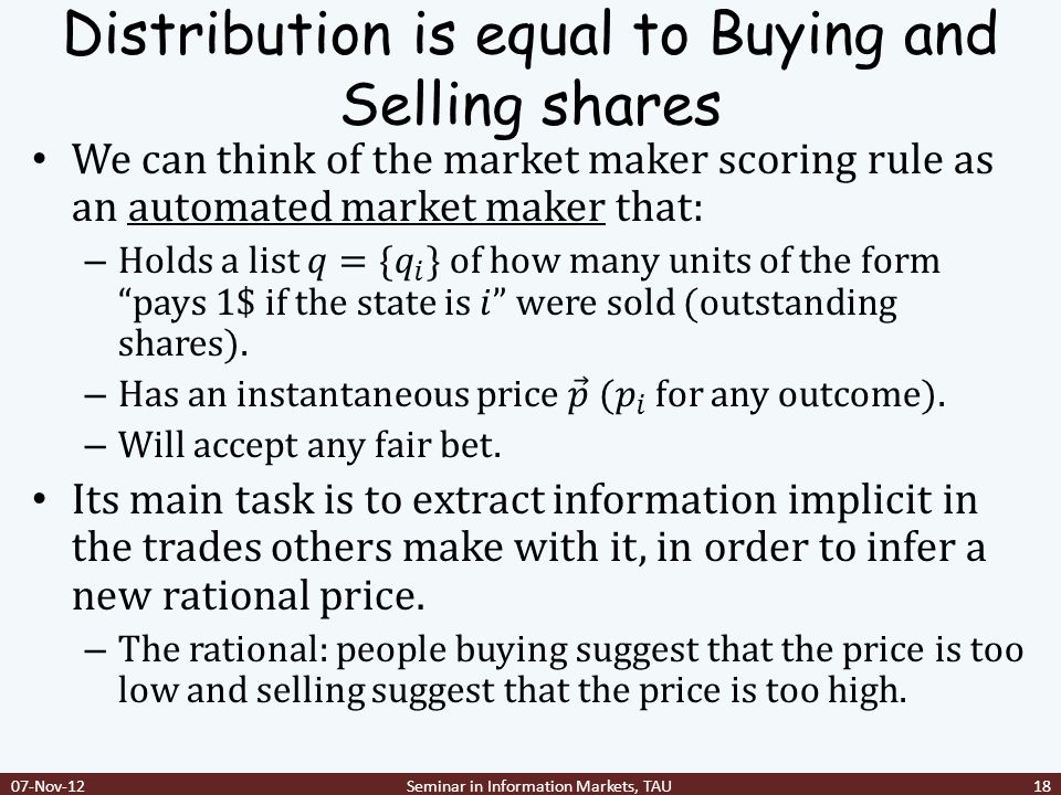 Distribution is equal to Buying and Selling shares 07-Nov-12Seminar in Information Markets, TAU18