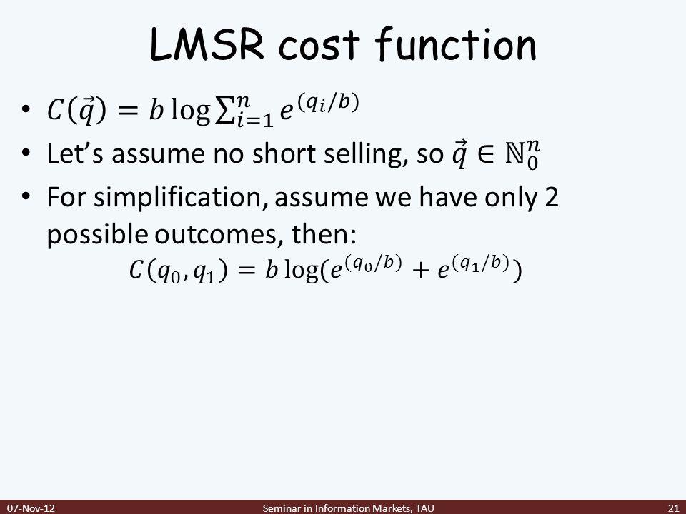 LMSR cost function 07-Nov-12Seminar in Information Markets, TAU21