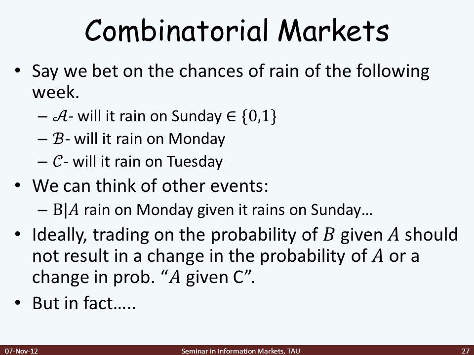 Combinatorial Markets 07-Nov-12Seminar in Information Markets, TAU27