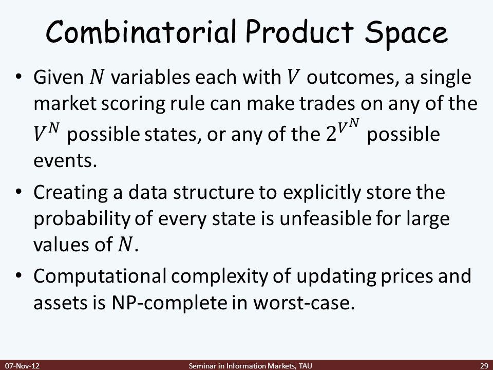 Combinatorial Product Space 07-Nov-12Seminar in Information Markets, TAU29