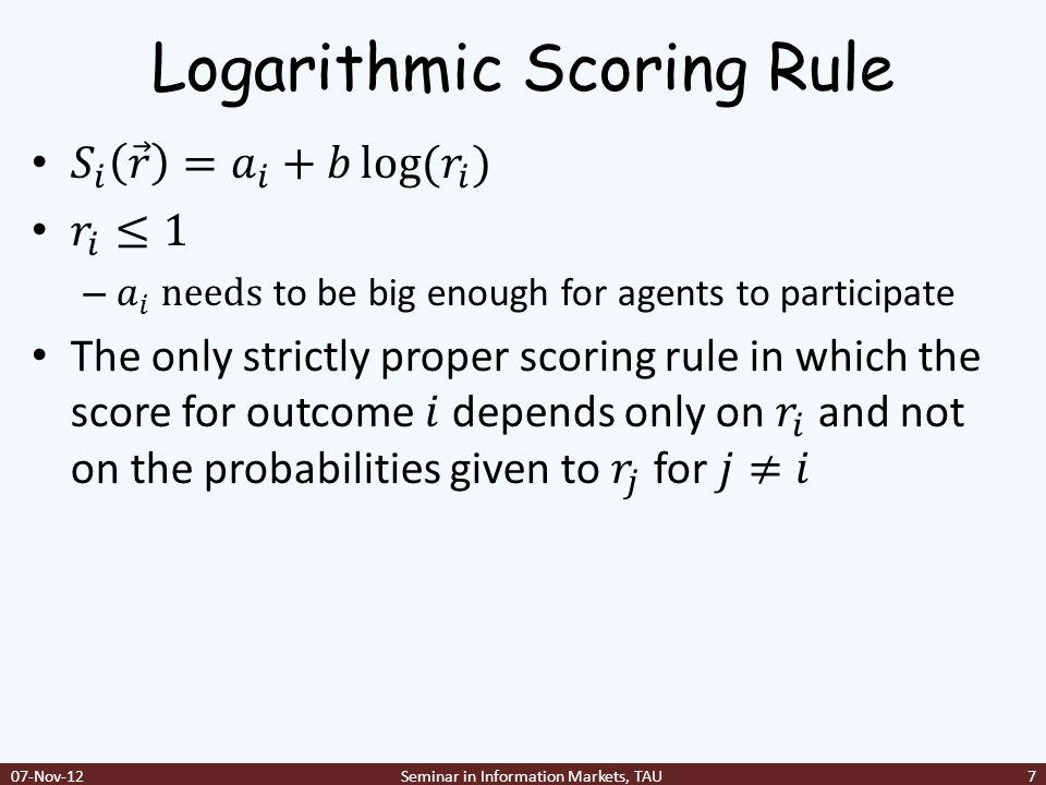 LMSR local inference rule 07-Nov-12Seminar in Information Markets, TAU28
