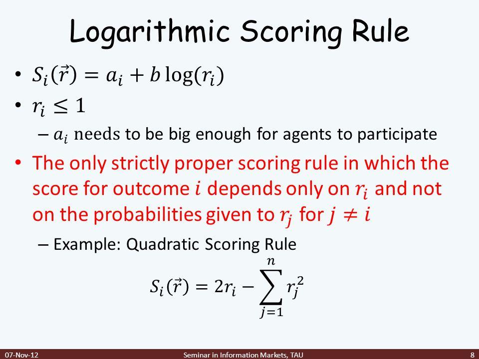 Logarithmic Scoring Rule 07-Nov-12Seminar in Information Markets, TAU8
