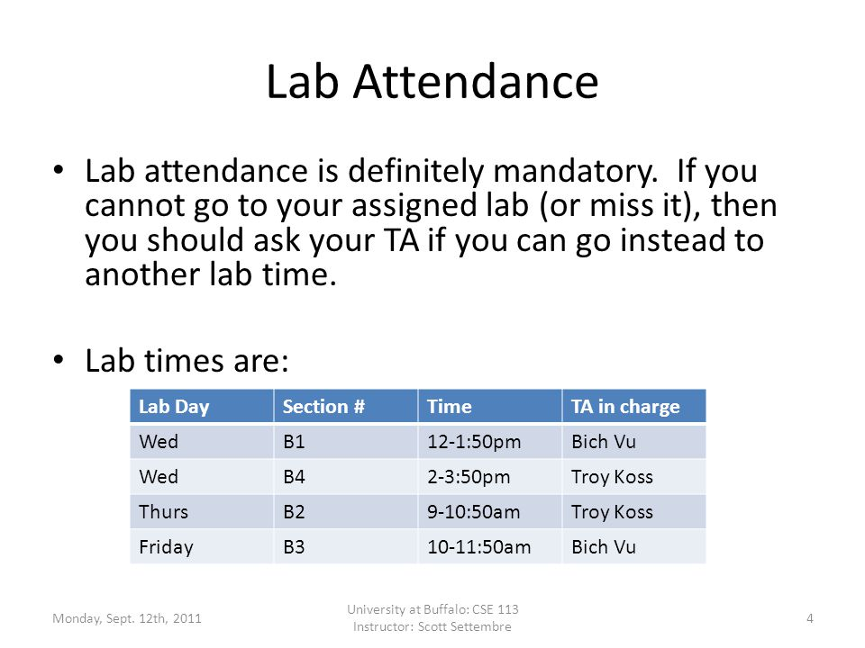 Lab Attendance Lab attendance is definitely mandatory.