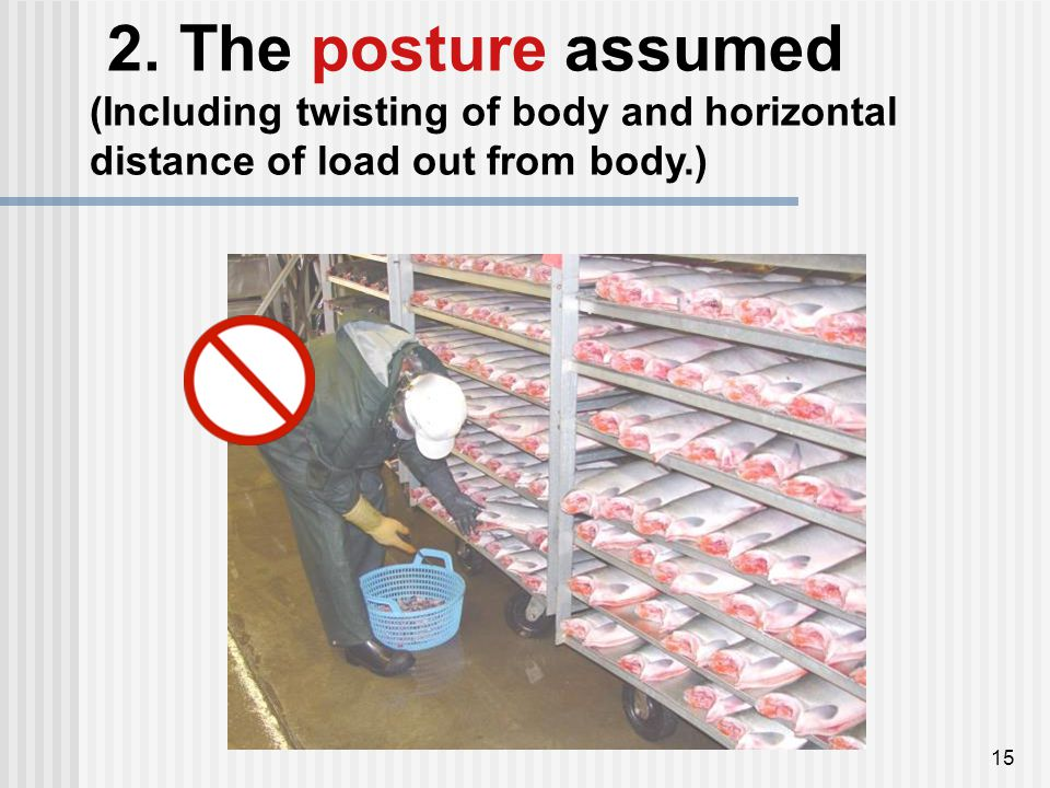 15 2. The posture assumed (Including twisting of body and horizontal distance of load out from body.)