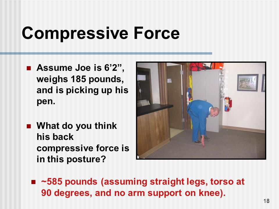 "18 Compressive Force Assume Joe is 6'2"", weighs 185 pounds, and is picking up his pen. What do you think his back compressive force is in this posture"