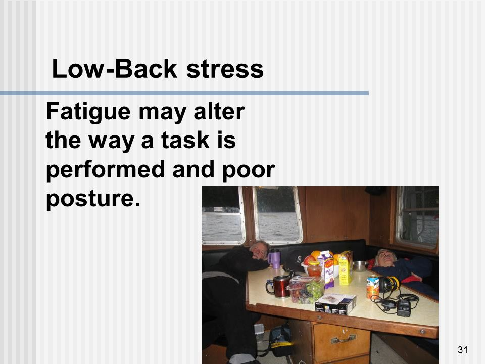 31 Fatigue may alter the way a task is performed and poor posture. Low-Back stress