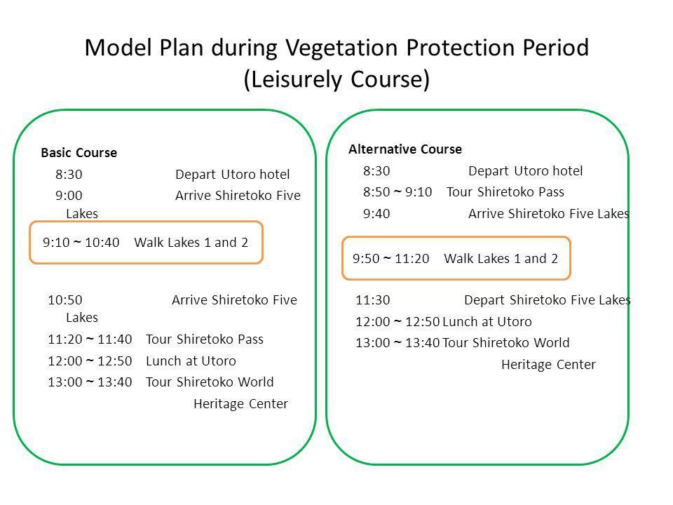 Model Plan during Vegetation Protection Period (Leisurely Course) Alternative Course 8:30 Depart Utoro hotel 8:50 ~ 9:10 Tour Shiretoko Pass 9:40 Arrive Shiretoko Five Lakes 11:30 Depart Shiretoko Five Lakes 12:00 ~ 12:50 Lunch at Utoro 13:00 ~ 13:40 Tour Shiretoko World Heritage Center Basic Course 8:30 Depart Utoro hotel 9:00 Arrive Shiretoko Five Lakes 10:50 Arrive Shiretoko Five Lakes 11:20 ~ 11:40 Tour Shiretoko Pass 12:00 ~ 12:50 Lunch at Utoro 13:00 ~ 13:40 Tour Shiretoko World Heritage Center 9:10 ~ 10:40 Walk Lakes 1 and 2 9:50 ~ 11:20 Walk Lakes 1 and 2