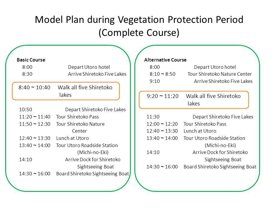 Model Plan during Vegetation Protection Period (Complete Course) Alternative Course 8:00 Depart Utoro hotel 8:10 ~ 8:50 Tour Shiretoko Nature Center 9:10 Arrive Shiretoko Five Lakes 11:30 Depart Shiretoko Five Lakes 12:00 ~ 12:20 Tour Shiretoko Pass 12:40 ~ 13:30 Lunch at Utoro 13:40 ~ 14:00 Tour Utoro Roadside Station (Michi-no-Eki) 14:10 Arrive Dock for Shiretoko Sightseeing Boat 14:30 ~ 16:00 Board Shiretoko Sightseeing Boat Basic Course 8:00 Depart Utoro hotel 8:30 Arrive Shiretoko Five Lakes 10:50 Depart Shiretoko Five Lakes 11:20 ~ 11:40 Tour Shiretoko Pass 11:50 ~ 12:30 Tour Shiretoko Nature Center 12:40 ~ 13:30 Lunch at Utoro 13:40 ~ 14:00 Tour Utoro Roadside Station (Michi-no-Eki) 14:10 Arrive Dock for Shiretoko Sightseeing Boat 14:30 ~ 16:00 Board Shiretoko Sightseeing Boat 8:40 ~ 10:40 Walk all five Shiretoko lakes 9:20 ~ 11:20 Walk all five Shiretoko lakes