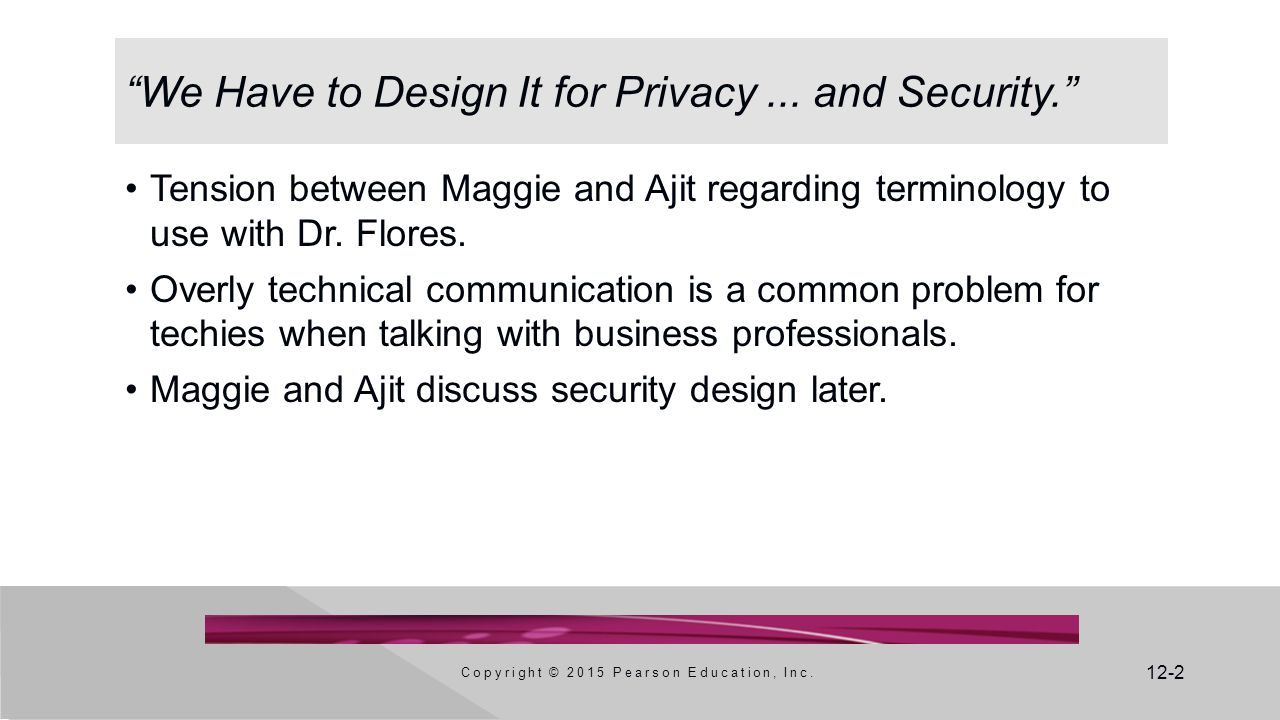 12-2 We Have to Design It for Privacy...and Security. Copyright © 2015 Pearson Education, Inc.