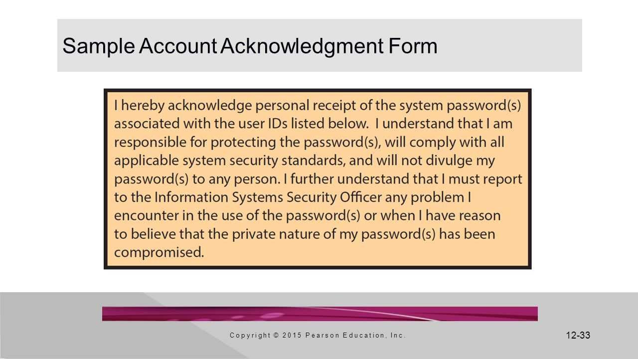 12-33 Sample Account Acknowledgment Form Copyright © 2015 Pearson Education, Inc.
